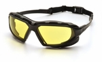 Pyramex Highlander XP Safety Glasses with Black & Gray Frame and Amber Anti-Fog Lens