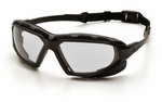 Pyramex Highlander XP Safety Glasses with Black & Gray Frame and Clear Anti-Fog Lens