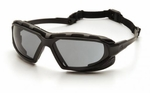 Pyramex Highlander XP Safety Glasses with Black & Gray Frame and Gray Anti-Fog Lens