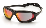 Pyramex Highlander XP Safety Glasses with Black & Gray Frame and Sky Red Mirror Anti-Fog Lens