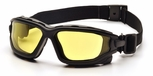 Pyramex I-Force Convertible Safety Goggle/Glasses with Black Frame and Amber Anti-Fog Lens