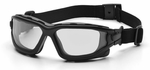 Pyramex I-Force Convertible Safety Goggle/Glasses with Black Frame and Clear Anti-Fog Lens