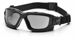 Pyramex I-Force Convertible Safety Goggle/Glasses with Black Frame and Gray Anti-Fog Lens