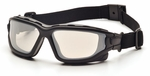 Pyramex I-Force Convertible Safety Goggle/Glasses with Black Frame and Indoor/Outdoor Anti-Fog Lens