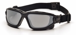 Pyramex I-Force Convertible Safety Goggle/Glasses with Black Frame and Silver Mirror Anti-Fog Lens