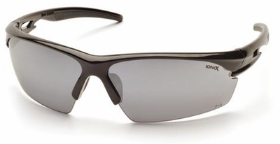Pyramex Ionix Safety Glasses with Black Frame and Silver Mirror Lens