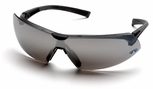 Pyramex Onix Safety Glasses with Black Frame and Silver Mirror Lens