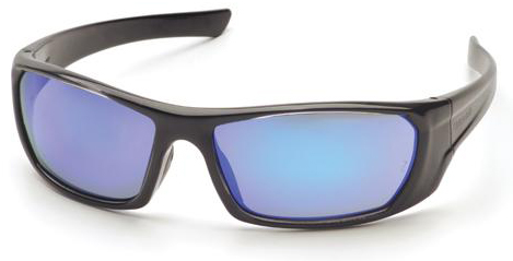 Pyramex Outlander Safety Glasses with Black Frame and Ice Blue Mirror Lens