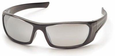 Pyramex Outlander Safety Glasses with Black Frame and Silver Mirror Lens