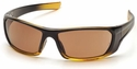 Pyramex Outlander Safety Glasses with Black/Gold Frame and Sandstone Bronze Lens