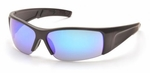 Pyramex PMX-Torq Safety Glasses with Black Frame and Ice Blue Mirror Lens