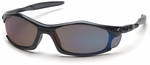 Pyramex Solara Safety Glasses with Black Frame and Blue Mirror Lens