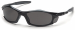 Pyramex Solara Safety Glasses with Black Frame and Gray Lens