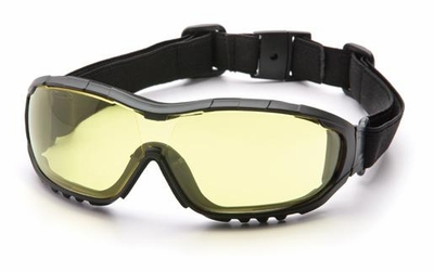 Pyramex V3G Safety Glasses/Goggles with Black Frame and Amber Anti-Fog Lens