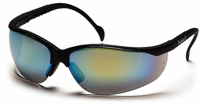 Pyramex Venture 2 Safety Glasses with Black Frame and Gold Mirror Lens