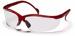 Pyramex Venture 2 Safety Glasses with Maroon Frame and Clear Lens