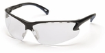 Pyramex Venture 3 Safety Glasses with Black Frame and Clear Lens