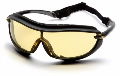 Pyramex XS3 Plus Safety Glasses with Black Padded Frame and Amber Anti-Fog Lens