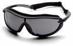 Pyramex XS3 Plus Safety Glasses with Black Padded Frame and Gray Anti-Fog Lens
