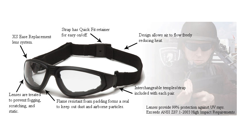 Pyramex XSG Ballistic Goggle Kit with Black Frame and ...