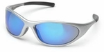 Pyramex Zone 2 Safety Glasses with Silver Frame and Ice Blue Mirror Lens