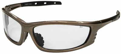 Radians Chaos Safety Glasses with Mocha Frame and Clear Lens