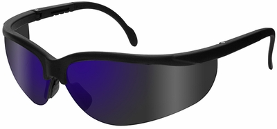 Radians Journey Safety Glasses with Black Frame and Blue Mirror Lens