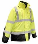 Radians SJ410B Class 3 Hi-Viz Green 3-In-1 Weatherproof Parka