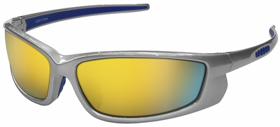 Radians Voltage Safety Glasses with Silver Frame and Electric Orange Lens