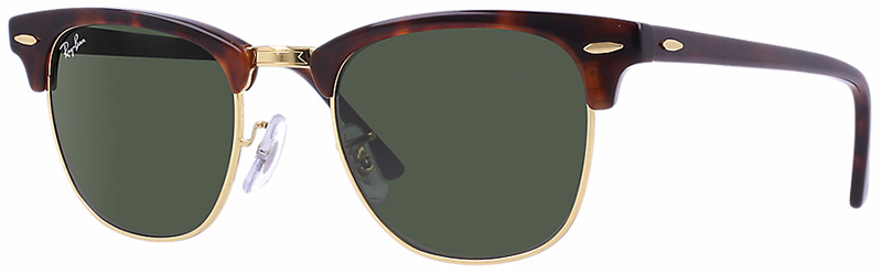 5d1debd8b9 Ray Ban Rb3016 Clubmaster Sunglasses Mock Tortoise Arista Frame Crystal Green  Lens