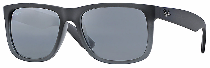 Ray-Ban Justin Sunglasses with Rubber Grey Transparent Frame and Silver Mirror Gradient Lens