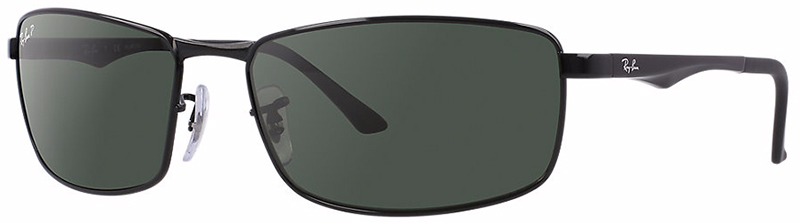 Ray-Ban Metal Man Sunglasses with Black Frame and Green Polarized Lens