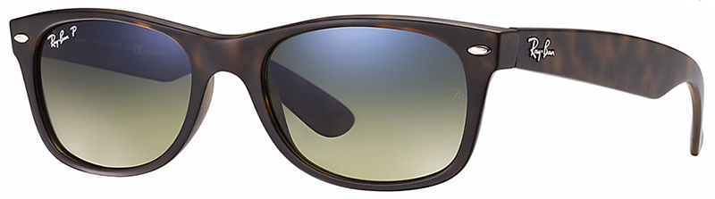 Ray-Ban New Wayfarer Sunglasses with Matte Havana Frame and Blue Green Mirror Polarized Lens