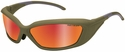 Revision Hellfly Ballistic Sunglasses with Khaki Frame and Flame Mirror Lens