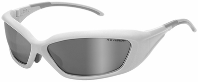 Revision Hellfly Ballistic Sunglasses with Matte White Frame and Smoke Mirror Lens