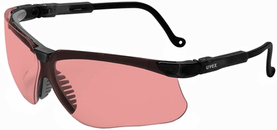 Uvex Genesis Safety Glasses with Black Frame and Vermillion Uvextreme Anti-Fog Lens