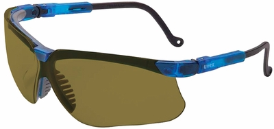 Uvex Genesis Safety Glasses with Vapor Blue Frame and Espresso Lens