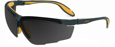 Uvex Genesis X2 Safety Glasses with Black/Yellow Frame and Dark Gray XTR Lens