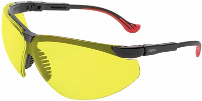 Uvex Genesis XC Safety Glasses with Black Frame and Amber Lens