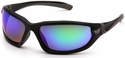 Venture Gear Ocoee Safety Sunglasses with Black Frame and Green Mirror Anti-Fog Lens