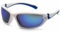 Venture Gear Ocoee Safety Sunglasses with White and Blue Frame and Ice Blue Mirror Anti-Fog Lens