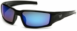 Venture Gear Pagosa Safety Sunglasses with Black Frame and Ice Blue Mirror Anti-Fog Lens