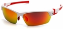 Venture Gear Tensaw Safety Sunglasses with White and Red Frame and Sky Red Mirror