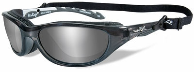 Wiley X AirRage Safety Sunglasses with Crystal Metallic Frame and Polarized Silver Flash Lens