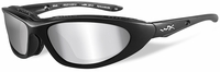 Wiley X Blink Safety Sunglasses with Matte Black Frame and Silver Flash Mirror Polarized Lens