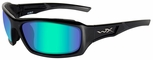 Wiley X WX Echo Sunglasses with Gloss Black Frame and Polarized Emerald Lens