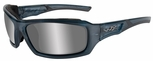Wiley X WX Echo Sunglasses with Smoke Steel Blue Frame and Silver Flash Lens