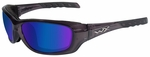 Wiley X WX Gravity Sunglasses with Black Crystal Frame and Polarized Blue Mirror Lens