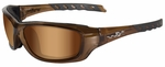 Wiley X WX Gravity Sunglasses with Brown Crystal Frame and Bronze Flash Lens
