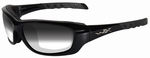 Wiley X WX Gravity Sunglasses with Gloss Black Frame and Light Adjusting Smoke Grey Lens